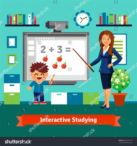 Kindergarten Teacher Woman Teaching Boy Elementary Stock Vector 309327743 Shutterstock