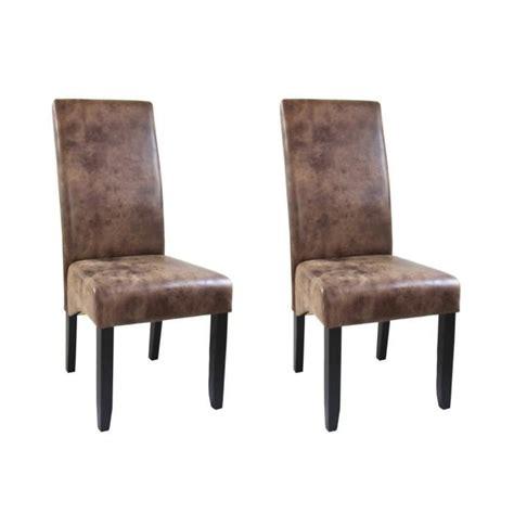 chaises de salle à manger but cuba lot de 2 chaises de salle à manger style vintage achat vente chaise marron structure