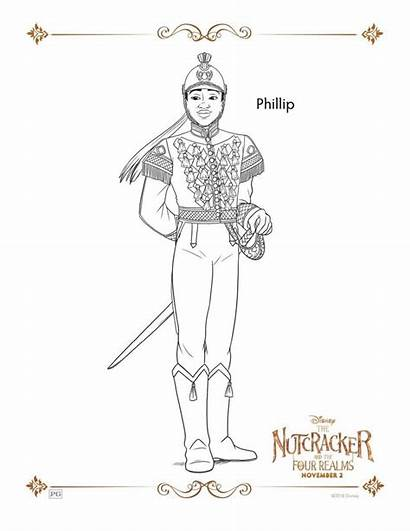 Nutcracker Coloring Realms Four Pages Sheets Disney
