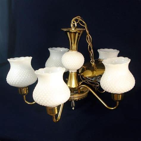 5 arm chandelier hanging light fixture brass white hobnail