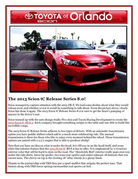 2013 Scion Tc Release Series 8 0 by 2013 Scion Tc Release Series 8 0 Is In Orlando