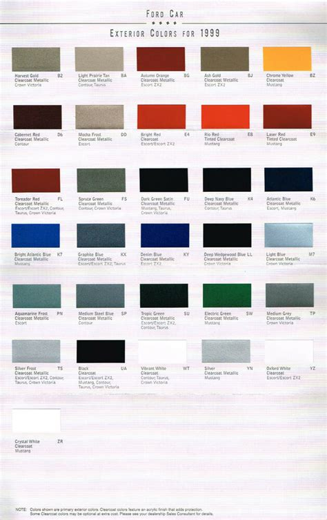 1999 ford color chart chip paint sle brochure mustang
