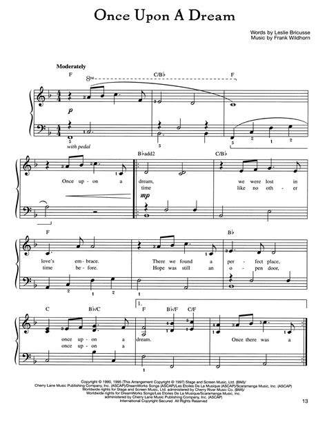once upon a dream sheet music by frank wildhorn easy