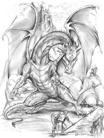 knights fighting dragons pictures - Google Search | Dragon coloring page, Fantasy artwork