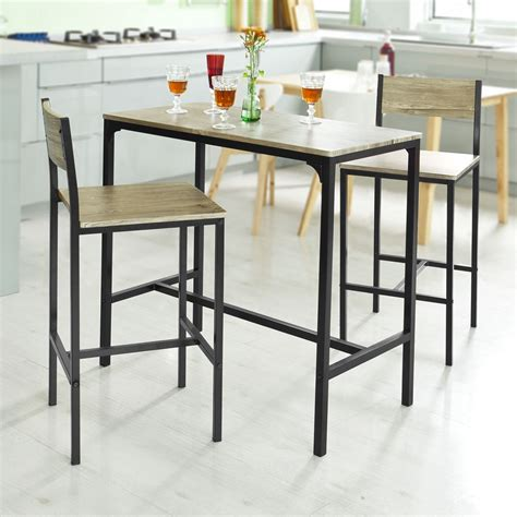 table bar cuisine sobuy bar table and 2 stools restaurant kitchen furniture