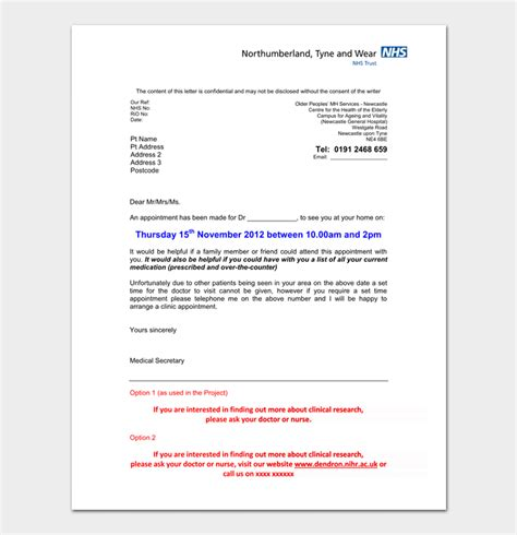 doctors appointment letter  sample letters formats