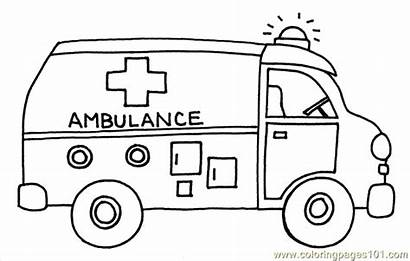Coloring Pages Ambulance Bus Transportation Printable Transport