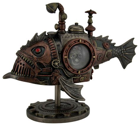 hand painted steampunk submarine sci fi fantasy statue