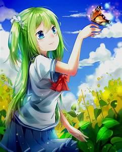 #long hair, #green hair, #blue eyes, #anime, #anime girls ...