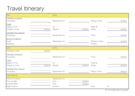 travel itinerary template word 2010 free printable travel itinerary the organised