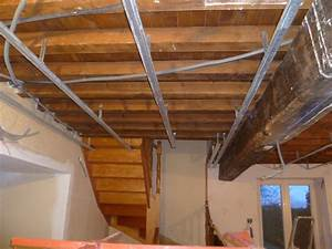 Faux Plafond Placo : plafond en placo suspendu maison travaux ~ Melissatoandfro.com Idées de Décoration