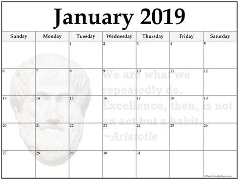 Calendar Template 2019 January 2019 Blank Calendar Template Free