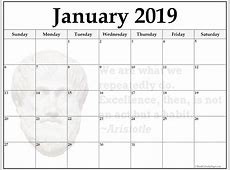 Download January 2019 Blank Calendar Template Free