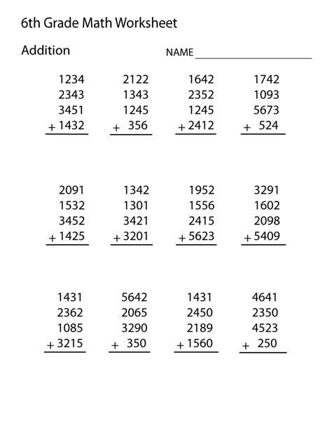 sixth grade math worksheets    sixth grade