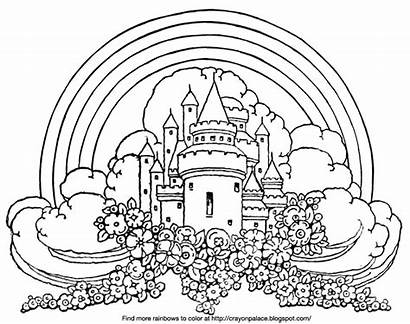 Rainbow Palace Coloring Castle Flower Clouds Bed