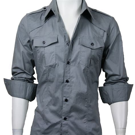 men  casual slim fit long sleeve dress shirt grey