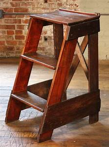 Wooden, Step, Ladder, Vintage, Antique, Moveable, Wood, Factory, Shop, Ladder, Stairs, At, 1stdibs