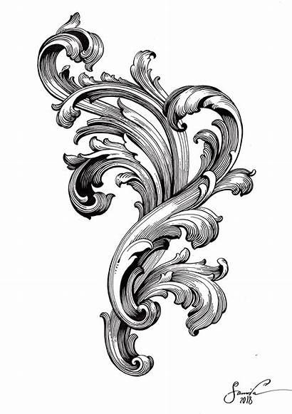 Filigree Tattoo Scroll Drawing Baroque Tattoos Filagree