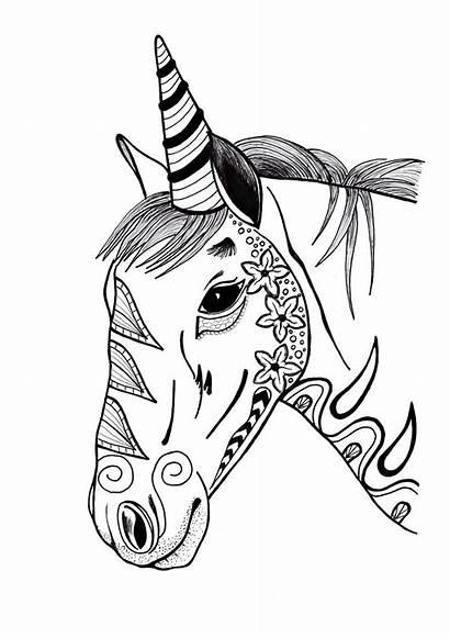 Unicorn Coloring Pages Adult Printable Colorful Mandala