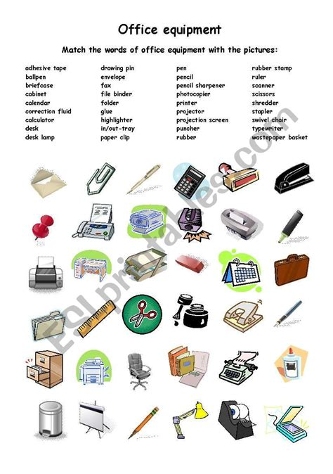 and equipment vocabulary with pictures lesson office equipment esl worksheet by mahda Office