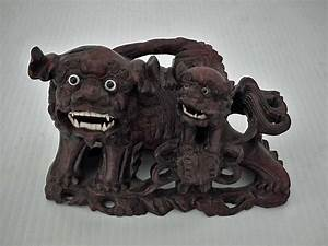 Antique Semi Antique Chinese rosewood sculpture of the Foo Dogs Buddhist Guardian Lions Shishi
