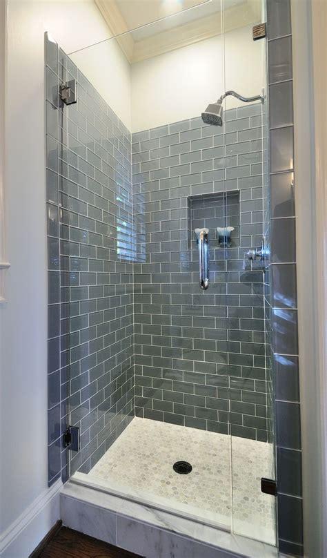 frameless shower  smoky blue gray subway tile rooms