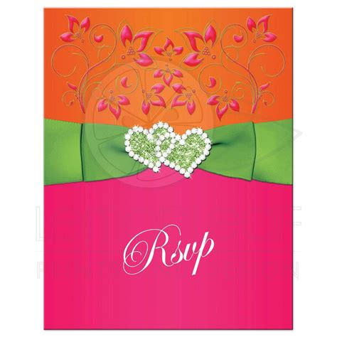 Double Hearts Wedding RSVP Card Tropical Hot Pink