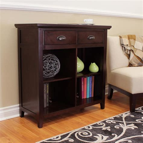Wide Bookcase With Drawers by Donnieann Lindendale 2 Drawers 4 Shelf Espresso Bookcase