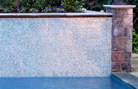 nj swimming pool glass tile water wall design