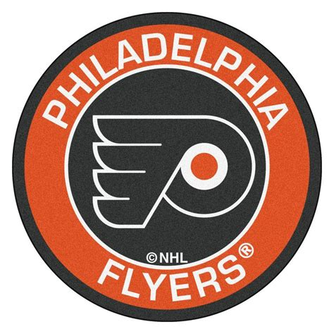 fanmats nhl philadelphia flyers orange 2 ft 3 in x 2 ft 3 in round accent rug 18882 the