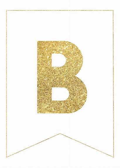 Banner Gold Letters Printable Letter Birthday Happy