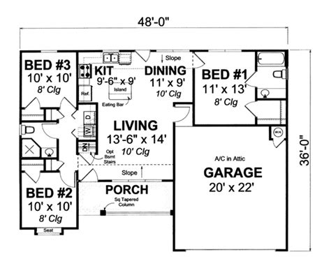 Cottage Style House Plan 3 Beds 2 00 Baths 998 Sq/Ft