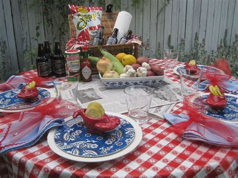 Crawfish Boil Table Decorations by Opulent Cottage Memorial Day Tablescape A Crawfish Boil