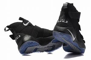 2017 Cheap Nike LeBron Soldier 11 All Black Silver Shoes ...