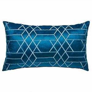 Coussin Bleu Canard : coussin motifs graphiques bleu canard 30x50cm zola maisons du monde ~ Teatrodelosmanantiales.com Idées de Décoration