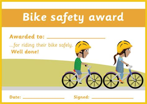 bike safety certificate  early years primary