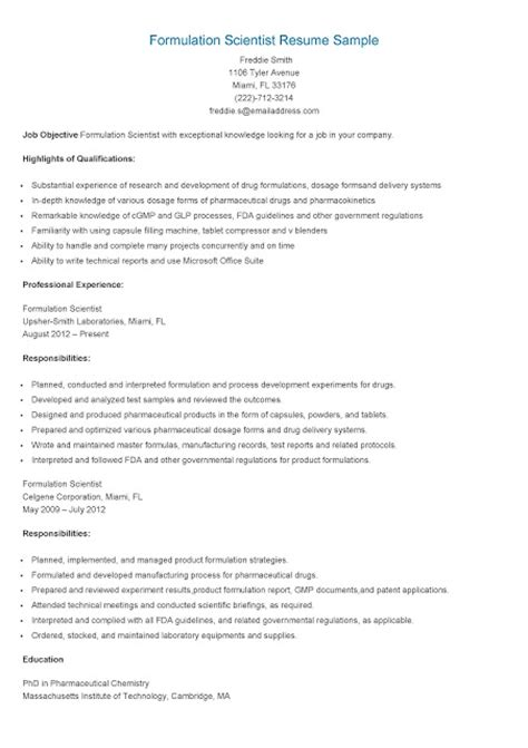 Fda Chemist Resume by Resume Sles Formulation Scientist Resume Sle
