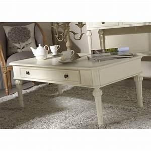 Table Basse Bois Blanc : table basse tiroir leonie 110 cm en bois blanc cass ~ Teatrodelosmanantiales.com Idées de Décoration