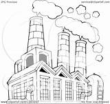 Factory Air Building Clipart Polluting Coloring Outlined Illustration Vector Royalty Smoke Visekart Sketch Pages Copyright Template Kid sketch template