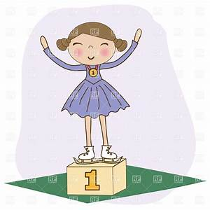 Girl figure skater on winner podium - won 1st Vector Image ...