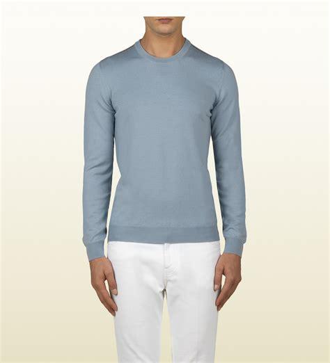 light blue crew neck sweatshirt gucci light blue merino wool crew neck sweater in blue for