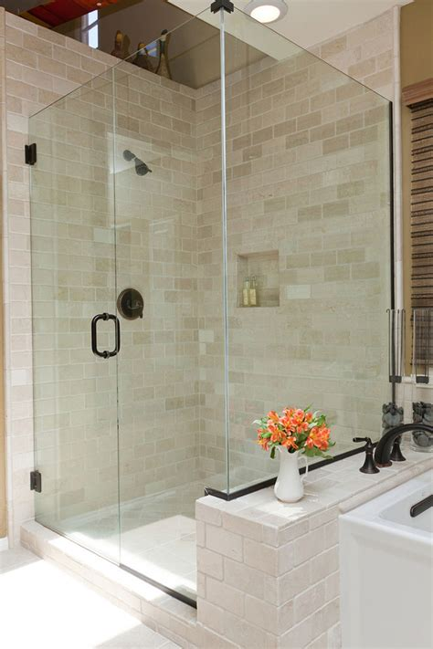 tumbled marble tile bathroom traditional  glass shower