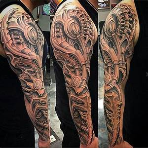 Tattoo Ganzer Arm Frau : tattoo vorlagen m nner mann mit sleeve tattoo mit machninenteilen tattoos pinterest ~ Frokenaadalensverden.com Haus und Dekorationen