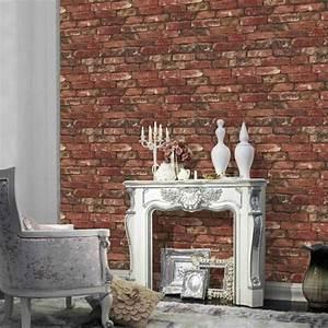 Papier Peint Trompe L Oeil Brique : papier peint brique pour un salon de style industriel ~ Premium-room.com Idées de Décoration