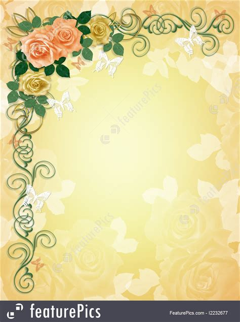 illustration  wedding invitation roses border