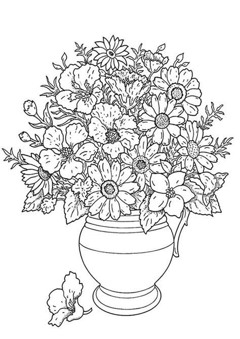 coloring page flower bouquet  printable coloring pages img