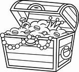 Treasure Chest Vector Coloring Clip Clipart sketch template