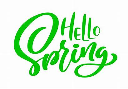 Hello Spring Calligraphy Lettering Vector Phrase Clipart