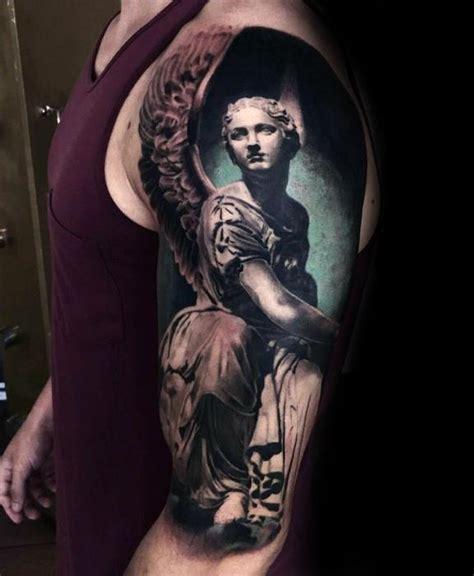 angel statue tattoo designs  men carved stone ink