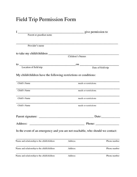 Trip Application Form Template by Field Trip Permission Forms Field Trip Permission Slip